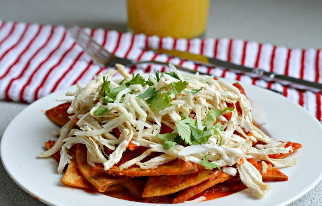 Red Chilaquiles with Chicken - the smoky, delicious red sauce is so yummy!