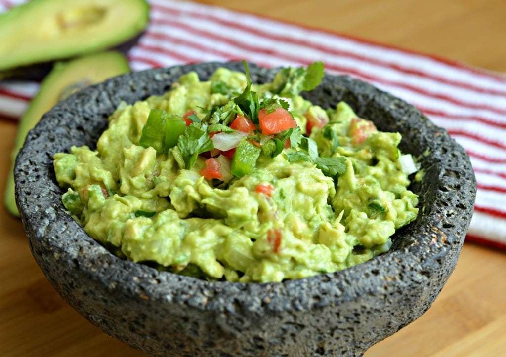 Homemade Mexican Guacamole Recipe - served in a molcajete