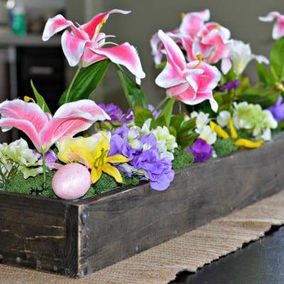 DIY Centro de mesa de madera para la primavera