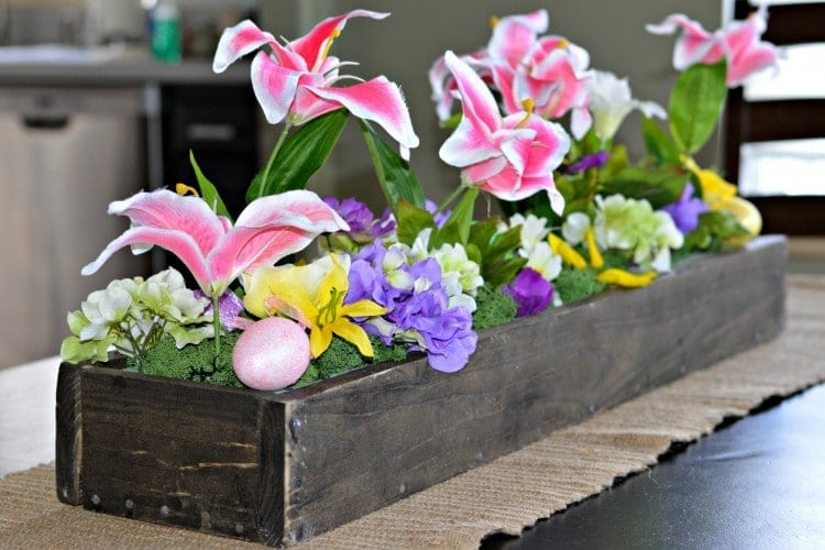 Springtime DIY Wooden Box Centerpiece