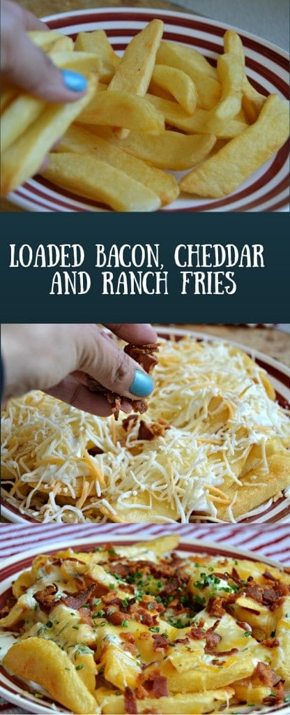 These loaded bacon, cheddar, and ranch fries are a perfect addition to any game time or party menu.