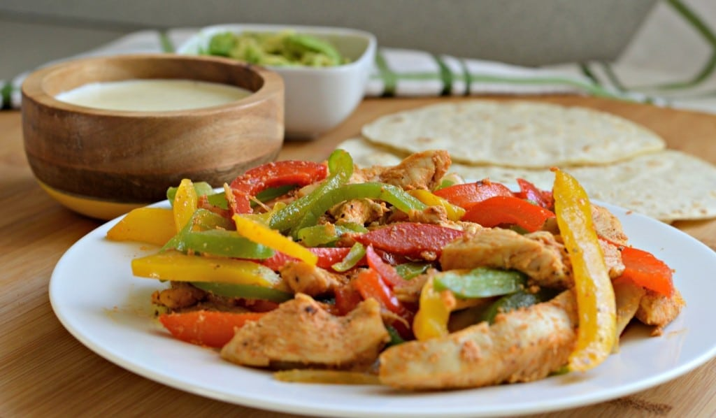 These chicken fajitas with queso are delicious and easy to make.