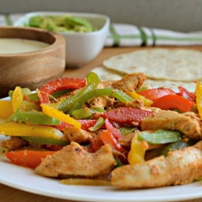 Chicken Fajitas with Creamy Queso