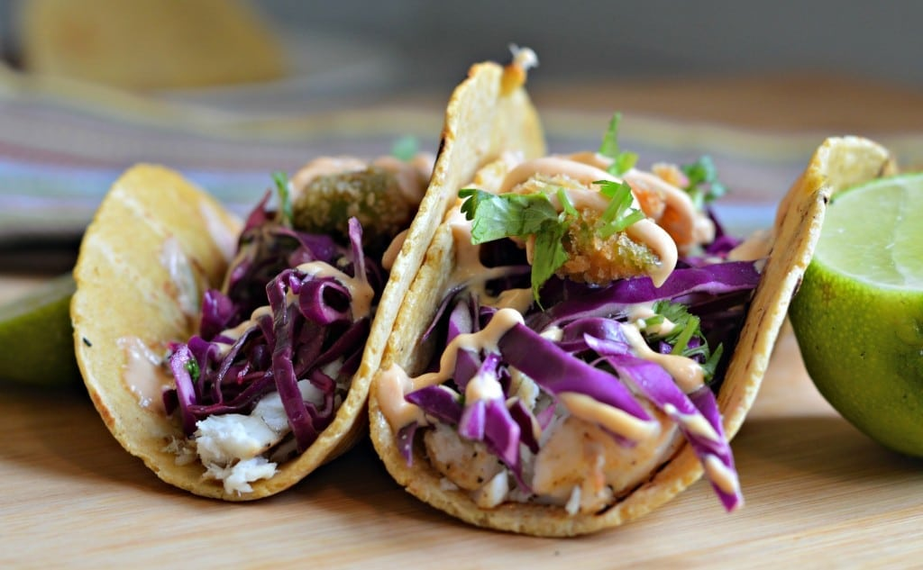 Fried Avocado Fish Tacos with Chipotle Sauce