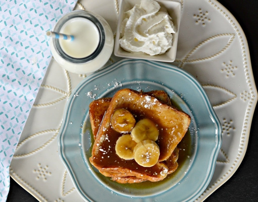 Bananas Foster French Toast - with cream and milk