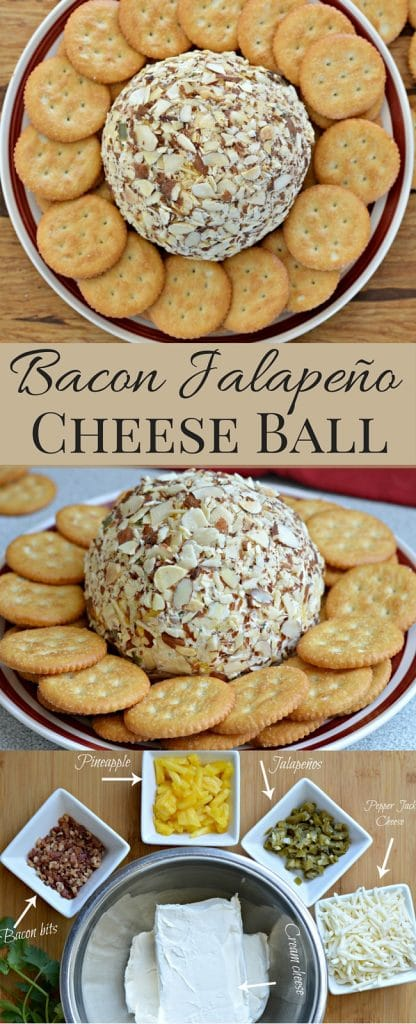 This Cheese Ball has it all - bacon, jalapenos, pineapple, and pepper jack cheese. So easy to make too.