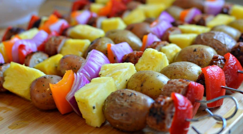 Backyard BBQ Ideas - ready to grill the kabobs