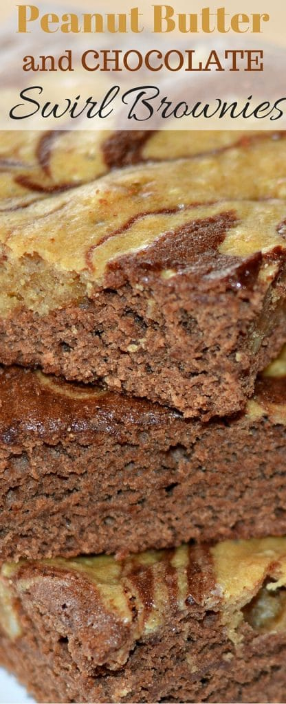 These Peanut Butter and Chocolate Swirl Brownies are perfect for anytime of year and the secret ingredient is amazing!