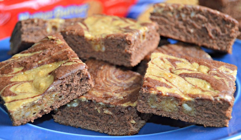 These Peanut Butter and Chocolate Swirl Brownies are perfect for anytime of year - check out the recipe for the secret ingredient.