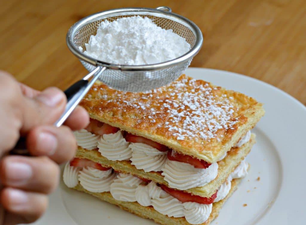 Strawberry and Cream Napoleon Recipe - adding the powdered sugar