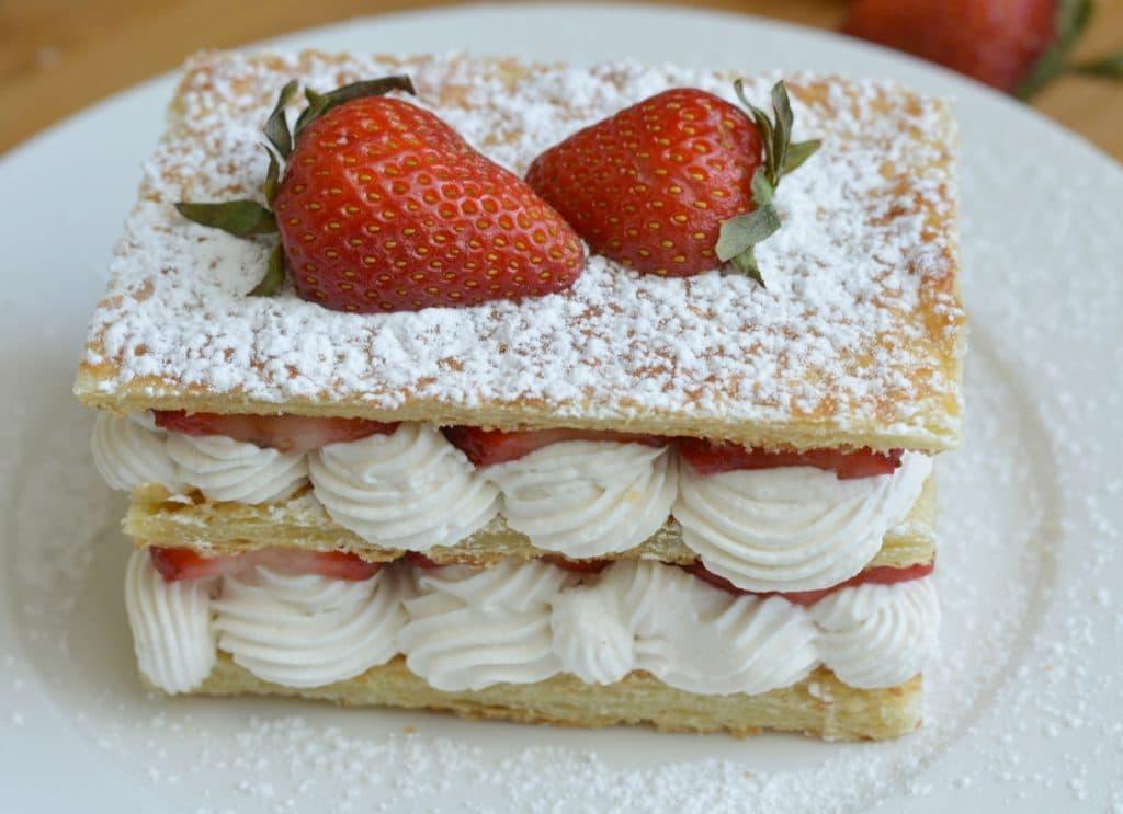Strawberry and Cream Napoleon Recipe - Close Up