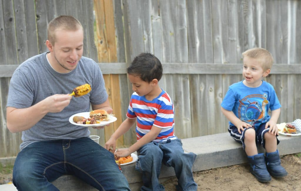 Backyard BBQ Ideas - eating and having fun.