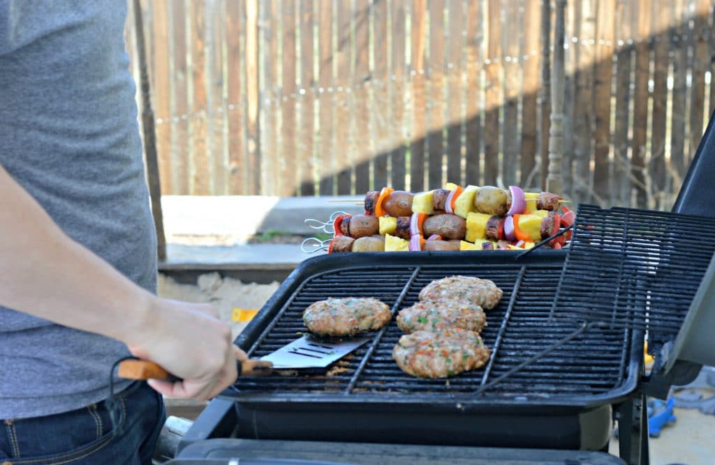 Grilling the Turkey Burgers on the grill - backyard BBQ ideas