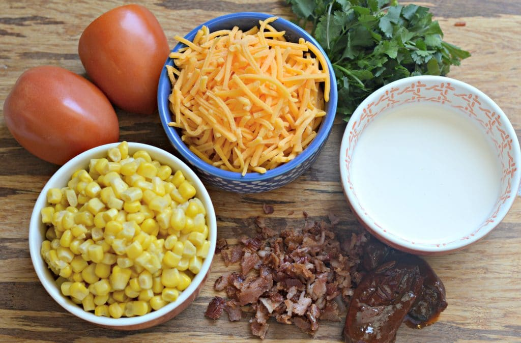 Bacon Cheddar Chipotle Corn Dip Ingredients