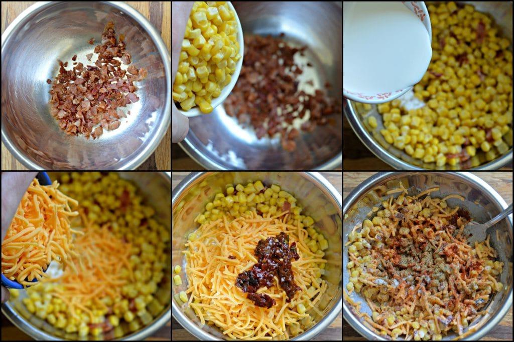 Bacon Cheddar Chipotle Corn Dip Process