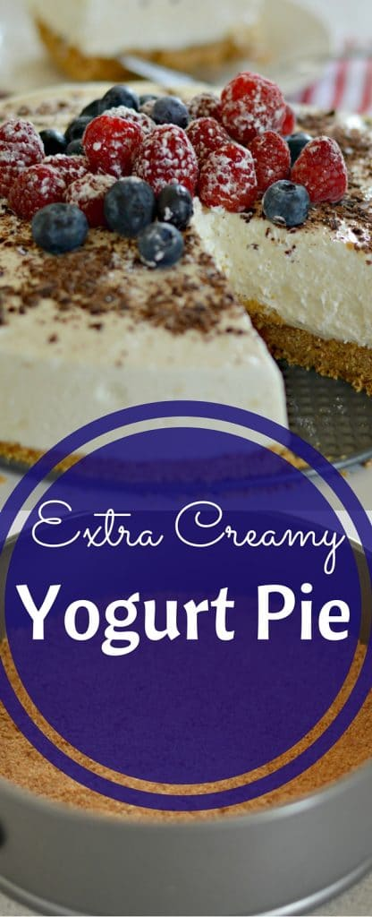 """This extra creamy yogurt pie will quickly become a favorite! My husband's only way of describing it was to say """"it tastes like a cloud."""" :)"""