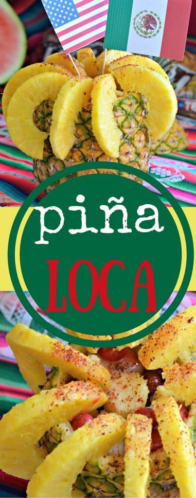 """Piña Loca is a popular Mexican snack food that is basically a sweet, sour, and slightly spicy fruit salad, served inside a """"pineapple bowl."""" It is delicious and easy to make!"""