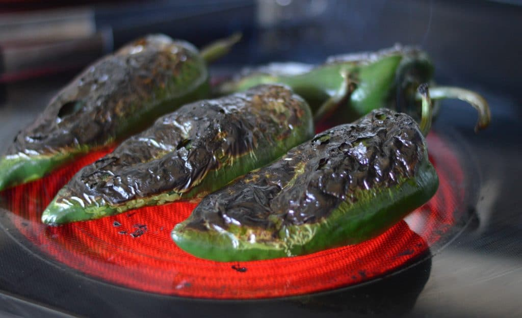 chiles rellenos on stove