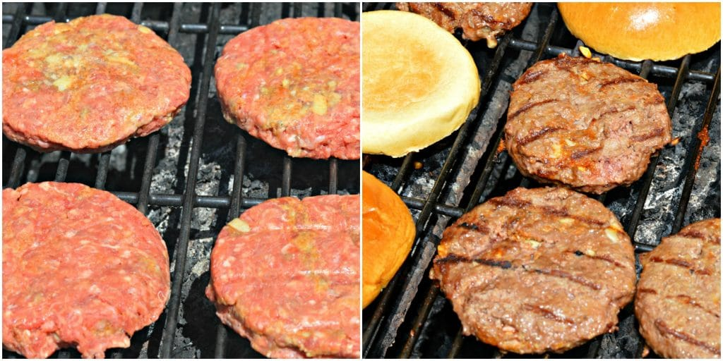 Burgers on Grill with Buns