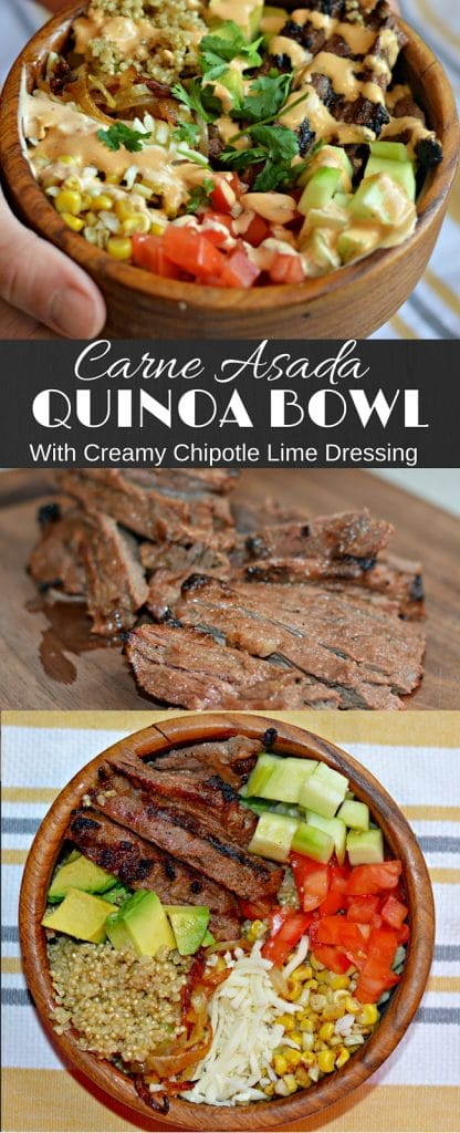 This Carne Asada Quinoa Bowl is delicious an has the perfect combination of fresh flavors and juicy and tender pieces of carne asada. It is sure to be a hit!