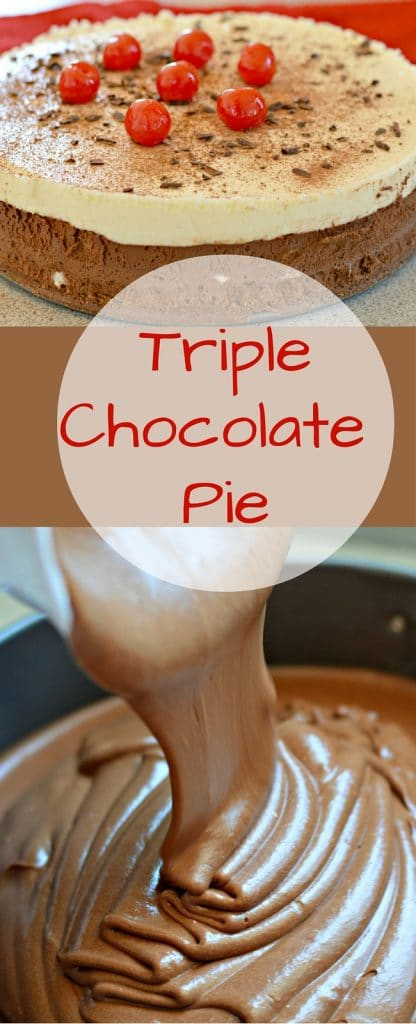 This triple chocolate pie has three creamy and delicious layers - dark chocolate, semi-sweet chocolate, and white chocolate. It is pretty easy to make, and is absolutely delicious!