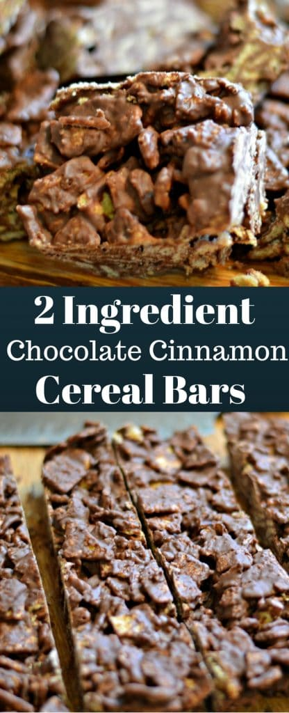 These 2 ingredient chocolate cinnamon cereal bars are so easy to make and are perfect for an after school snack or anytime!