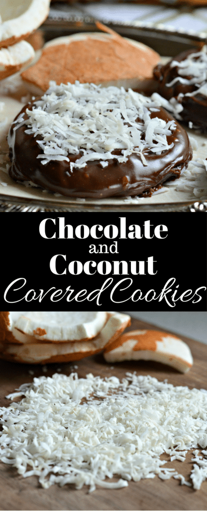 These Chocolate and Coconut Covered Cookies are so simple to make and are perfect for after school snacks and more!