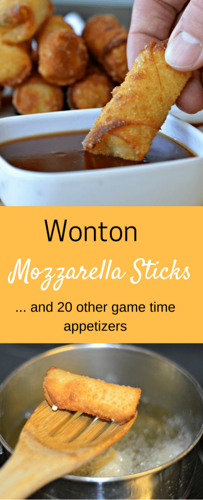 These Wonton Mozzarella Sticks are perfect for game time or anytime! Also, this post includes 20 other game time appetizers too!