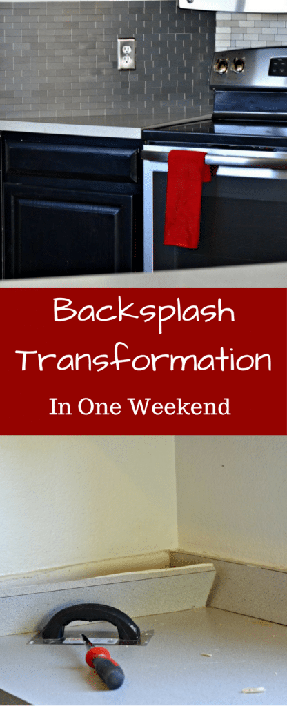 Check out how we transformed our backsplash in one weekend using Aspect peel and stick tiles. Before and After Pictures on the blog!