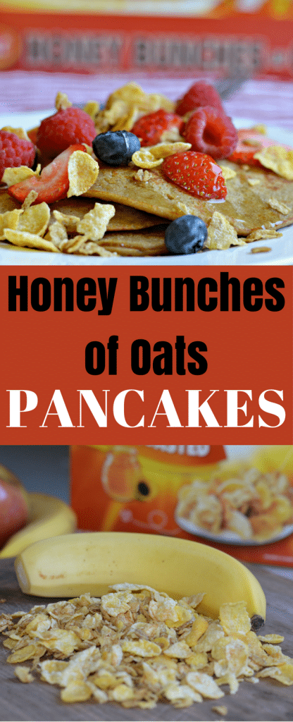 These Honey Bunches of Oats Pancakes are delicious and perfect for breakfast any day of the week