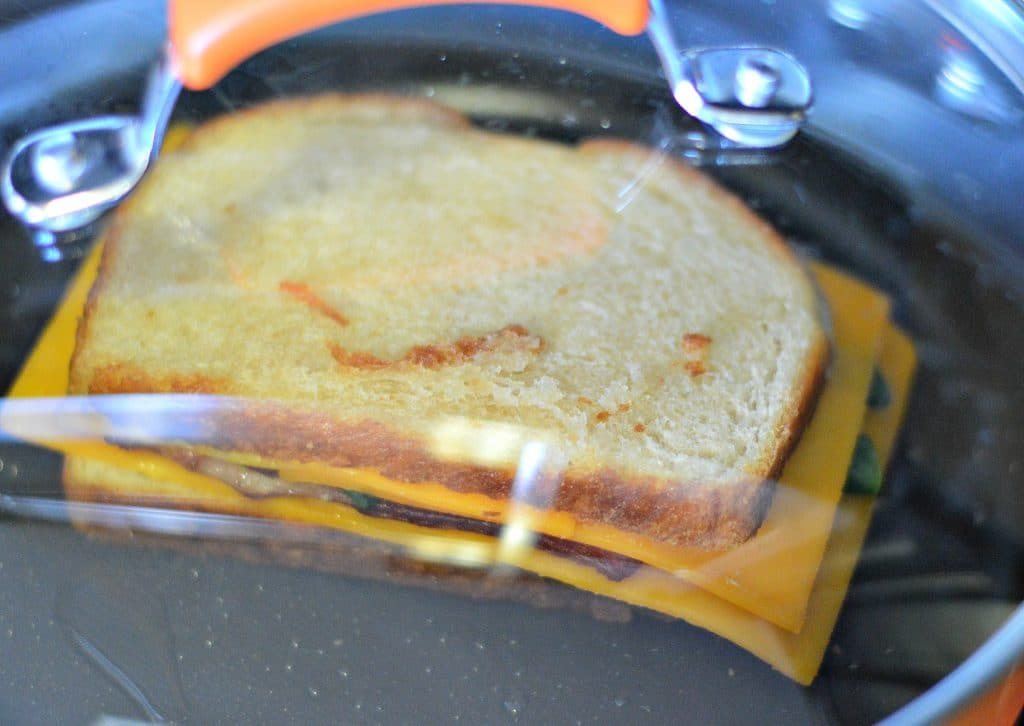 Bacon Poblano and Cheddar Grilled Cheese with lid