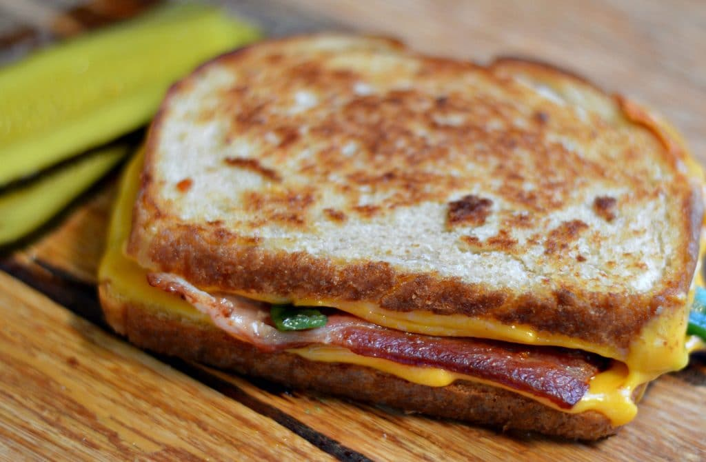 Bacon Poblano and Cheddar Grilled Cheese done
