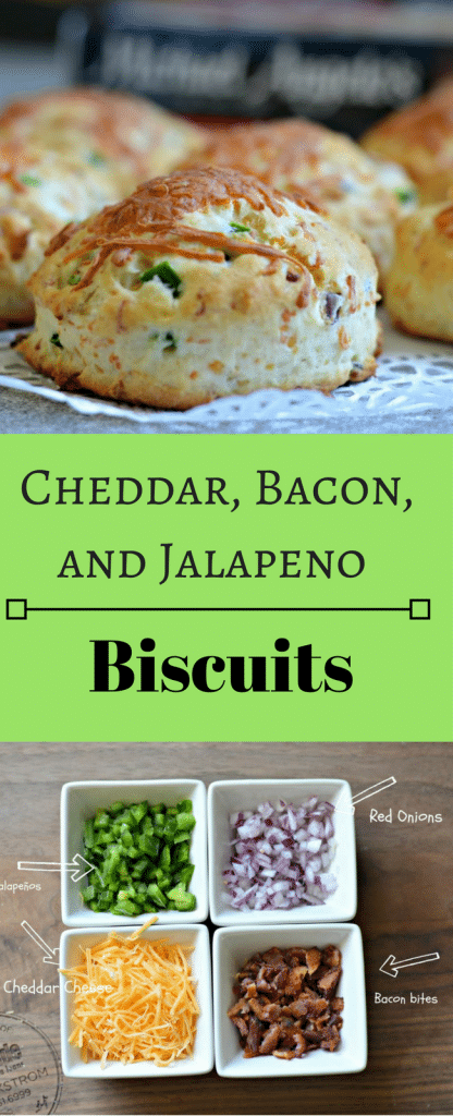 These Cheddar, Bacon, and Jalapeno biscuits are delicious and go perfectly with just about any main dish.