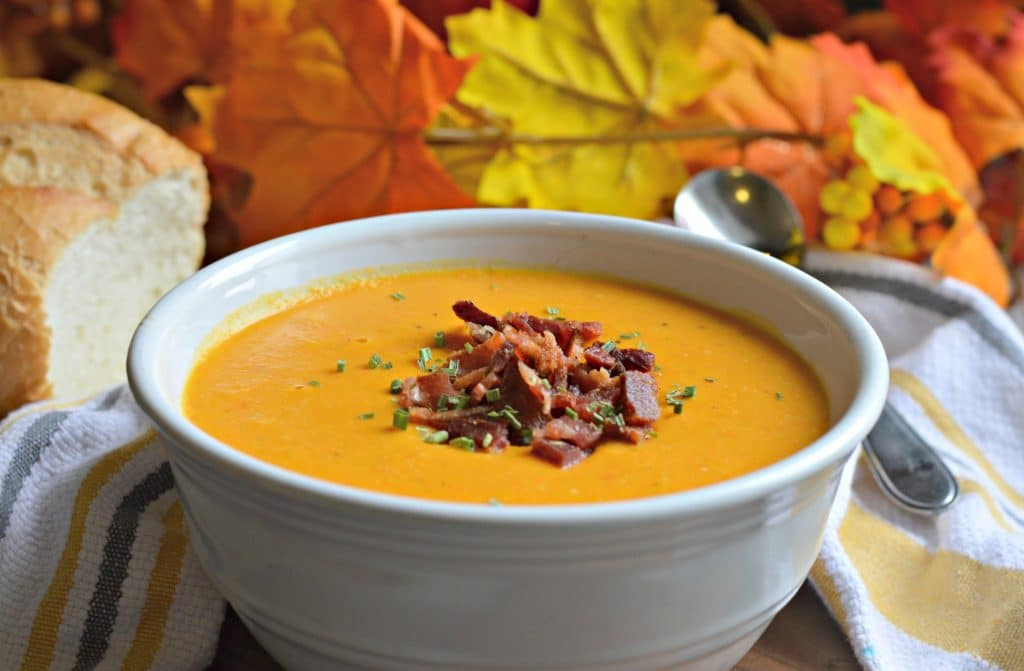 butternut-squash sweet potato and bacon soup