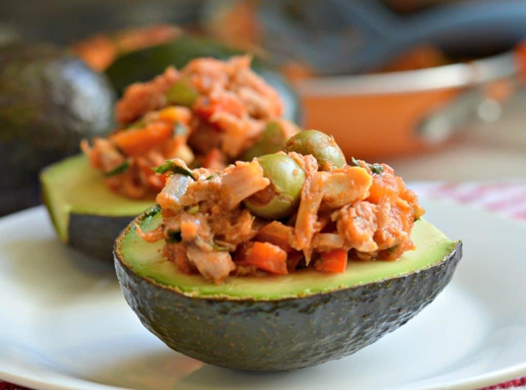 Vizcaina Style Tuna Stuffed Avocados - My Latina Table