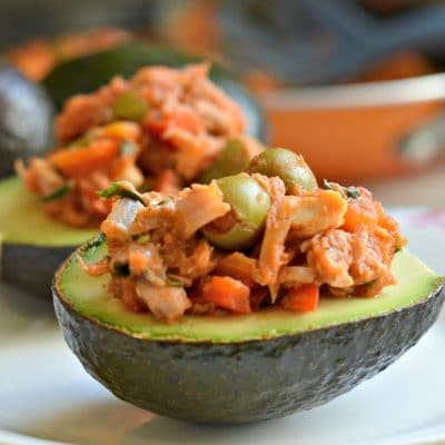 Vizcaina Style Tuna Stuffed Avocados