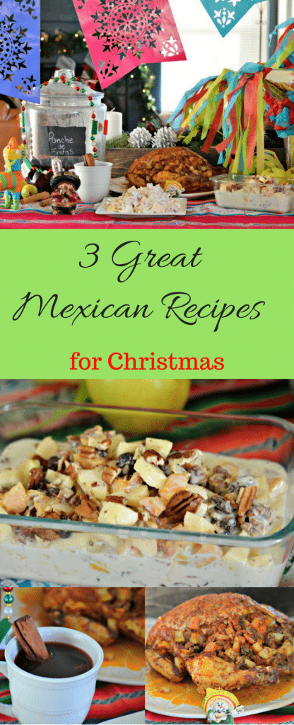 This post has three great Mexican recipes that are perfect for Christmas - Mexican-style oven roasted chicken, Apple Salad, and Mexican-Style Fruit Punch. Check them all out here!