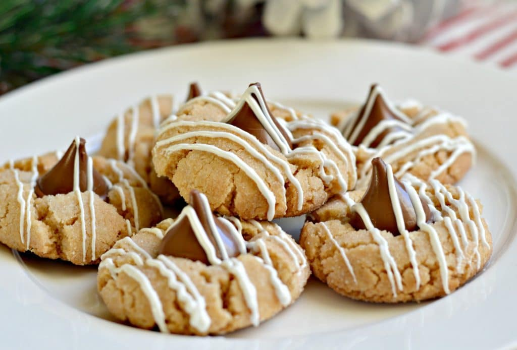 White Chocolate Striped Peanut Butter Blossoms