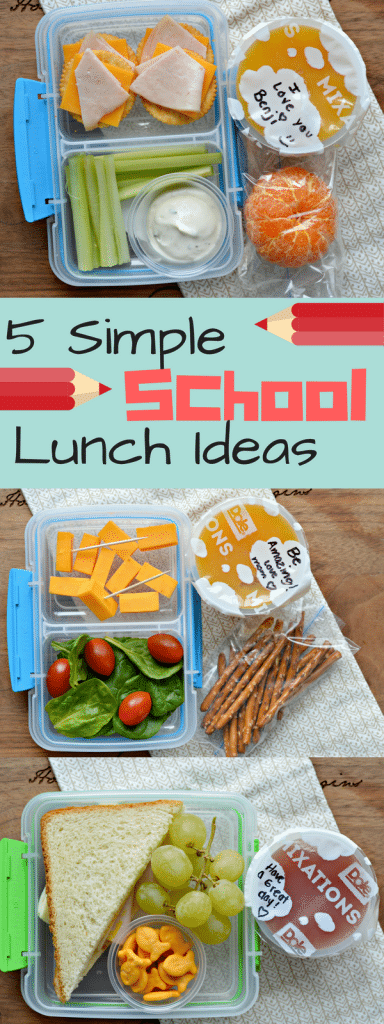 Check out these five simple school lunch ideas for kids - great for busy moms!